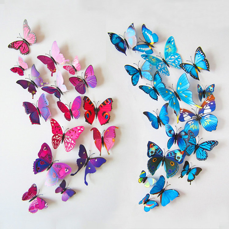 12pcs set new arrival 3d butterfly wall stickers party for Kitchen cabinets lowes with pink 3d butterfly wall art