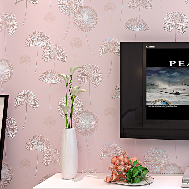 Pink Floral Wallpapers Romantic Dandelion Wallpaper Non-woven Bedroom Wallpaper Roll for Living Room TV Background 3D Paper Roll