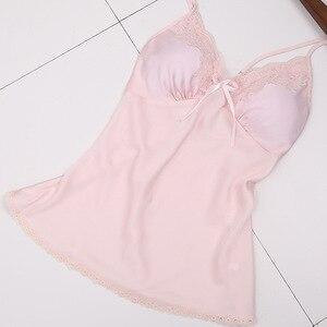 Image 4 - Ladies Sexy Silk Satin Pajama Set Lace Sleepwear Set Fashion Home Clothing V neck Nightwear Bathrobe+Top+Pant 3 Pieces For Women
