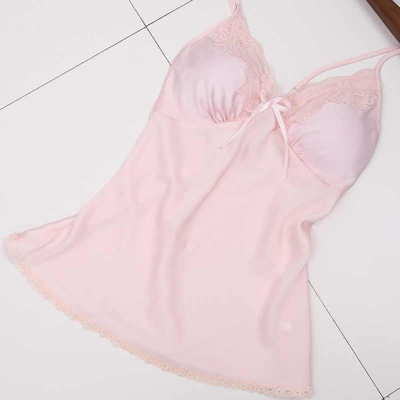 レディースセクシーなシルクサテンパジャマセットレースのパジャマセットファッションホーム服 V ネックナイトバスローブ + トップ + パンツ 3 ピース女性のための