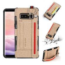 цена на ikrsses Case For Samsung Note 8 Luxury PU and soft TPU silicone phone Case For Galaxy Note 8 Card slot bracket Anti-fall Cover