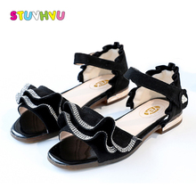 Kids Summer Shoes Girls Princess Sandals 3-12 Years Old Children Shoes Soft Leather Fashion Rhinestone Ruffle Girls Sandals