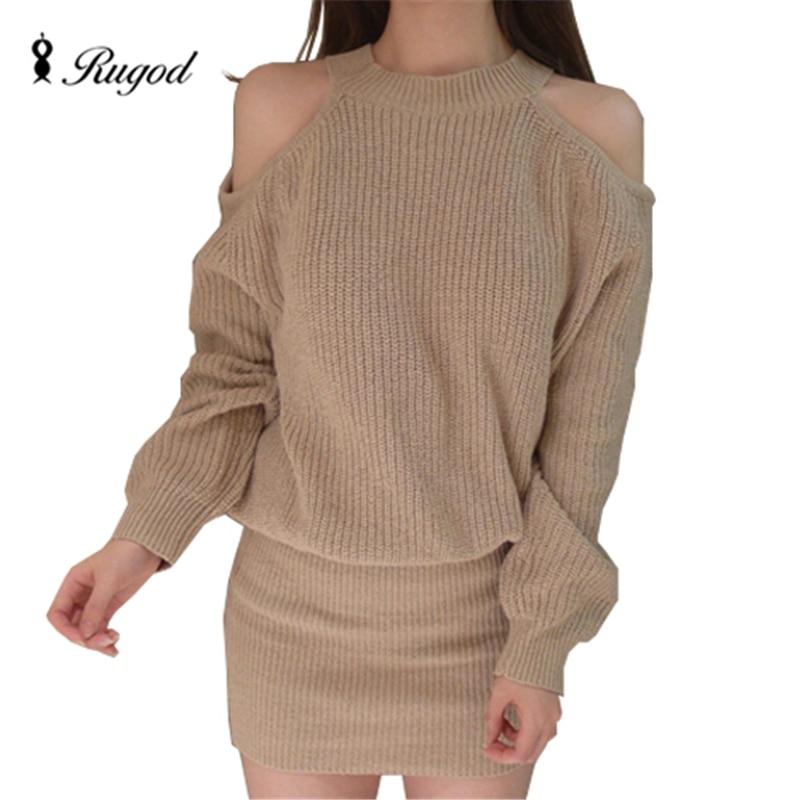 Autumn Winter Knitted Sweater Dress For Women Loose Warp -9405