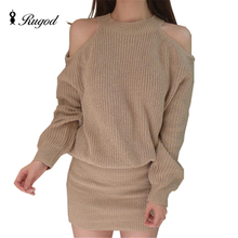 Осень-зима трикотажные Платья-свитеры для Для женщин Свободные основы черный Платья для женщин с открытыми плечами jurken зима Для женщин S одежда 2016 халат тянуть