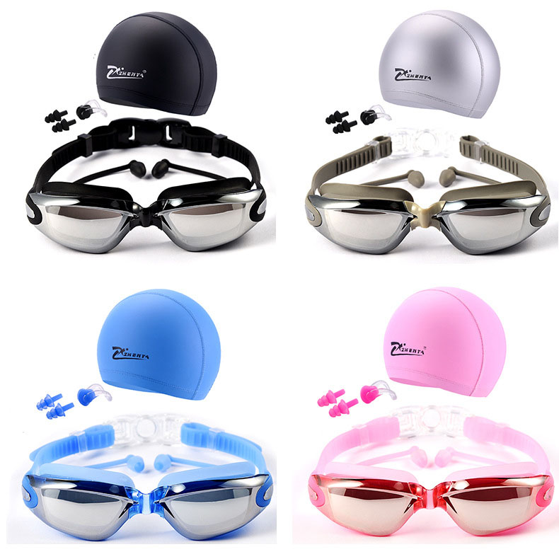 Anti-Fog UV Protect HD swimming Goggles glasses Professional Waterproof eyewear With Hat and Ear Plug Nose clip
