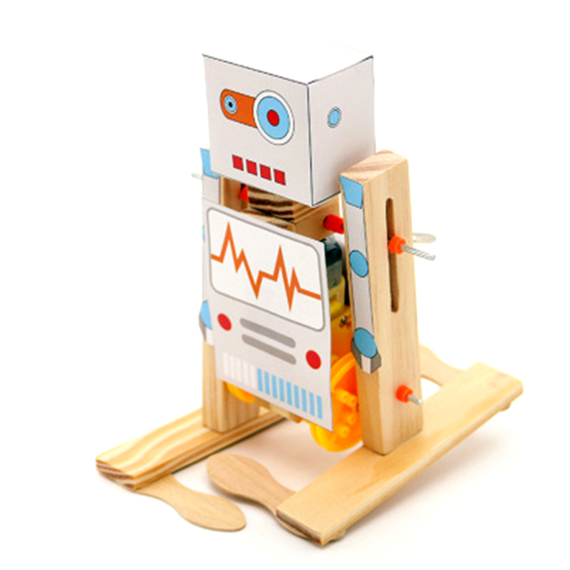 DIY Wooden Electric Science Walking Robot Toy Model Kit Physical Science Experiment Kit Creative Robot Educational Toys Gifts
