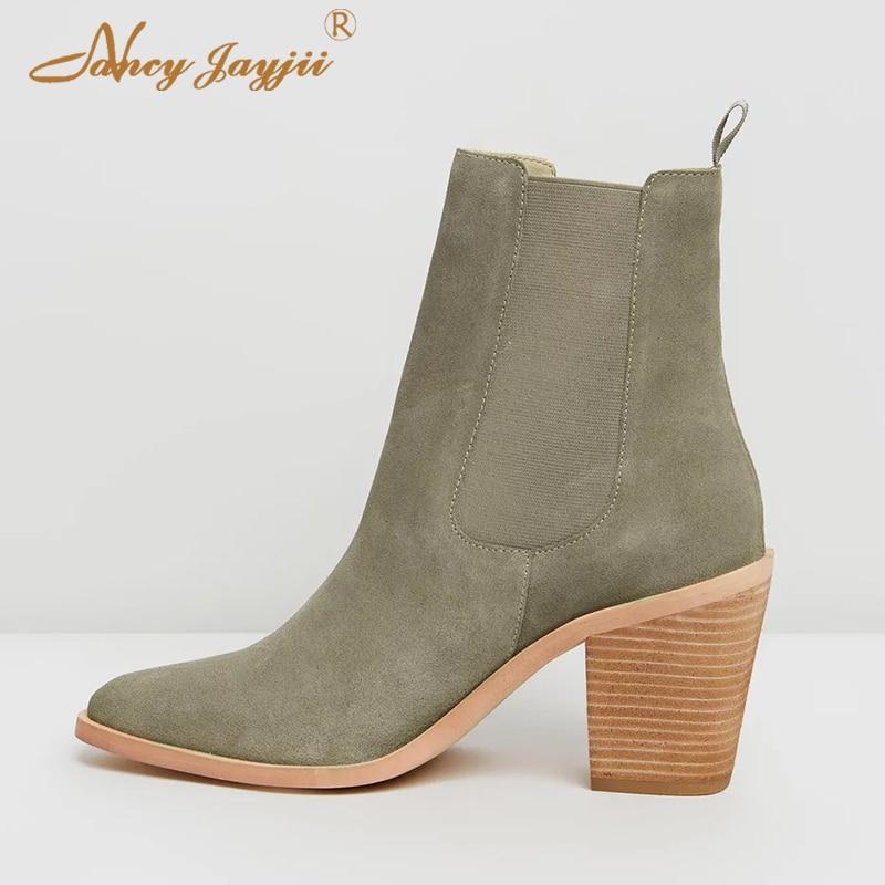 Mujer Zapatos Alto Elegante Punta Tacones Tobillo Banda Elástica Moda Ty01 2018 Impresión Verde Madera Tacón Botas De qECvxPW7wO