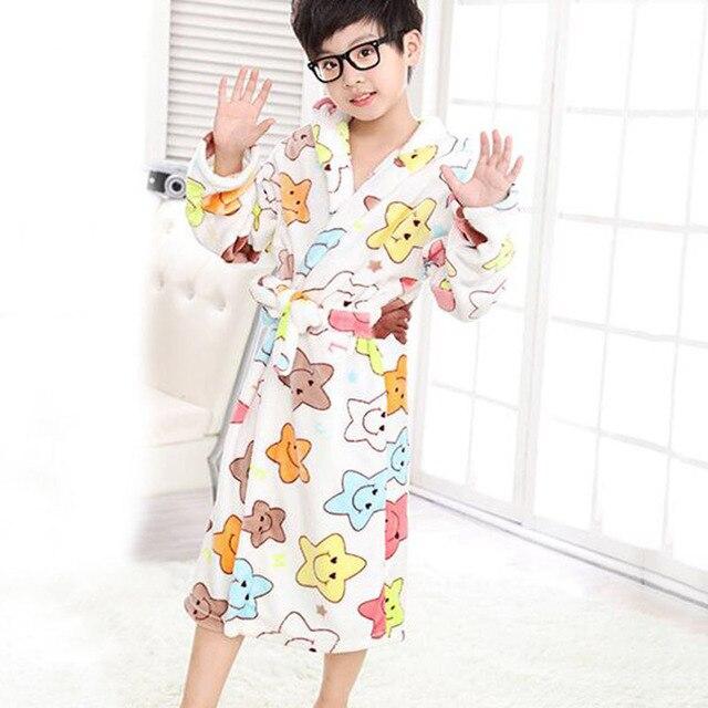 Good Quality Kids Bath Robe Hooded Pyjamas Comfortable Flannel Sleepwear Cartoon Bathrobes Pajamas for Boys Girls