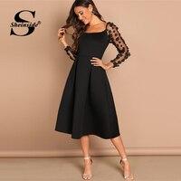Sheinside Contrast Mesh Long Sleeve Appliques Pleated Dress Square Neck Party Dresses Women Evening Knee Length Lady Black Dress