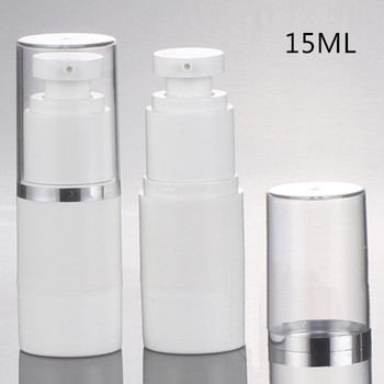 30pcs Vacuum bottles / 15ml airless bottle with hot stanmping silver borfer plastic bottle emulsion bottles cosmetic containers