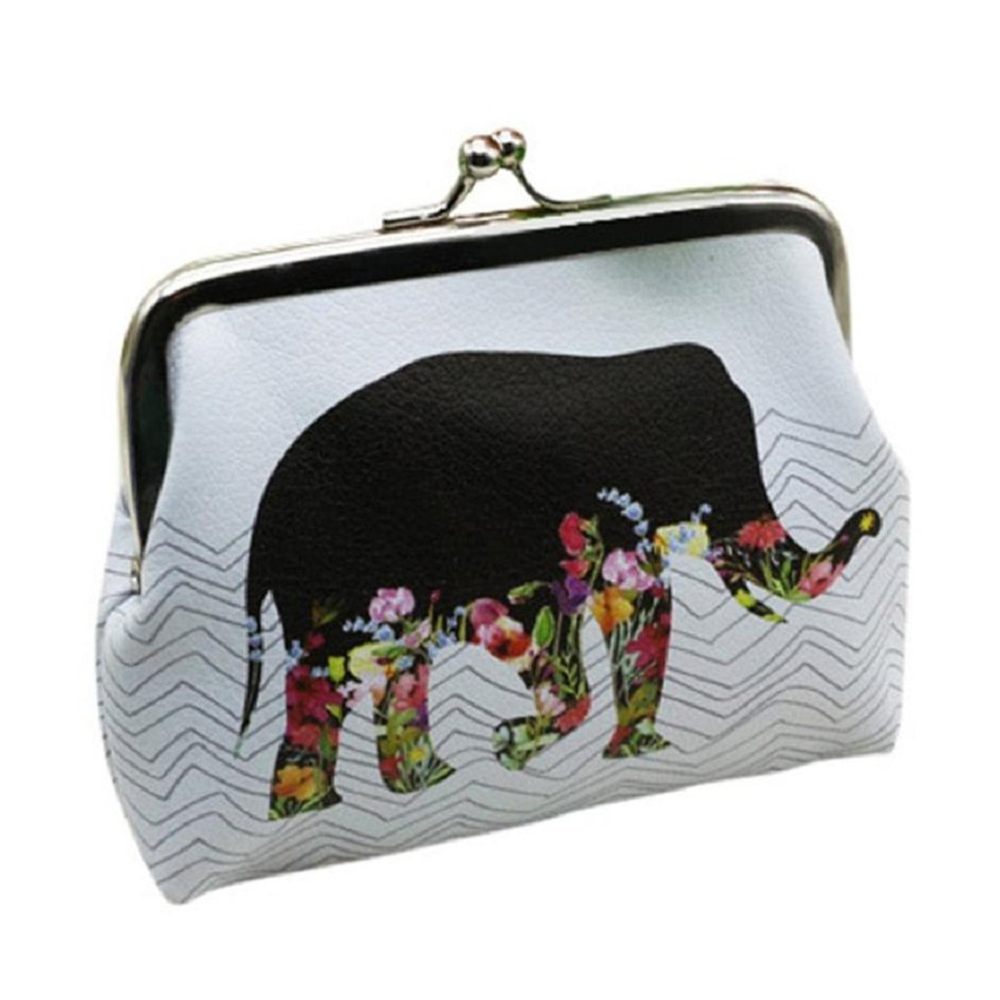 5) TEXU Womens Small Coin Purses PU Leather Wallets hasp Clutch cute gift (Elephant)