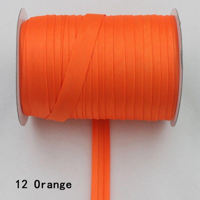 """100 ярд полиэстер 5/""""(15 мм) атласная косая лента косая Привязка сплошной цвет для пошив одежды «сделай сам» и обрезки - Цвет: 12    orange"""