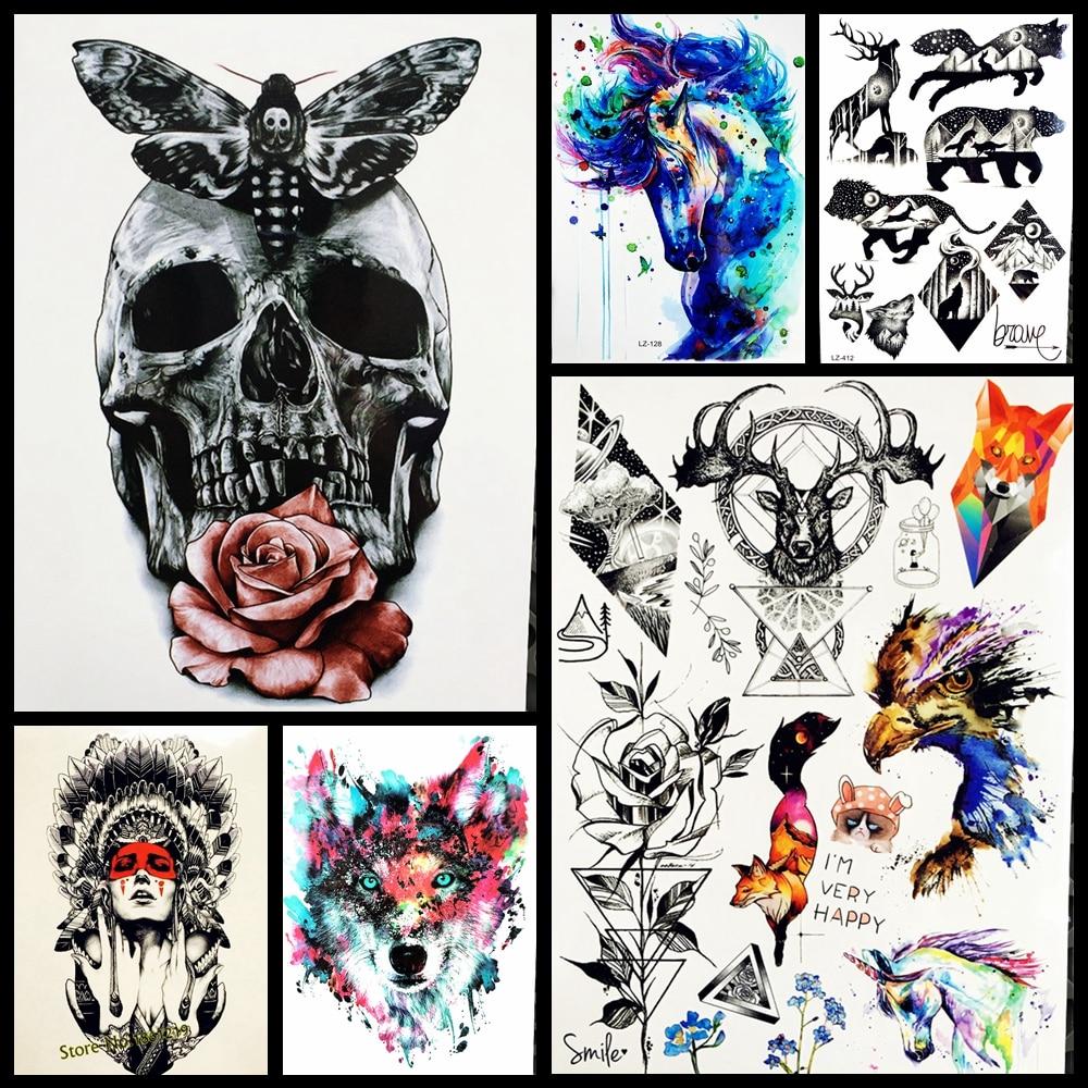 Для мужчин Водонепроницаемый татуировки Стикеры Мода смерть череп Временные татуировки Средства ухода за кожей рук ног 21x15 см Для женщин поддельные flash Tatoo стикеры рукава