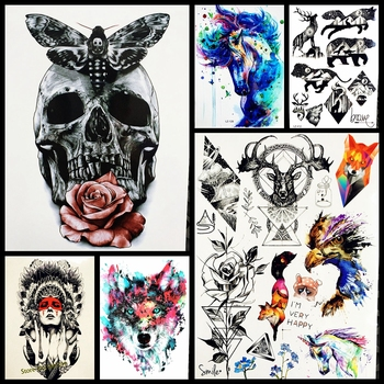 Men waterproof tattoo sticker fashion death skull temporary tattoo body arm leg 21x15cm women fake flash