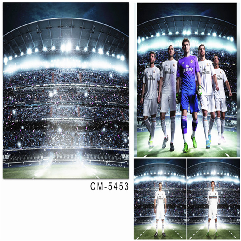 World Cup Football Photography Background Backdrops Shinning Light Football Filed for Kids Photos Custom Photo Backdrop Studio world cup in south africa world cup model european soccer cup trophy custom football fans articles