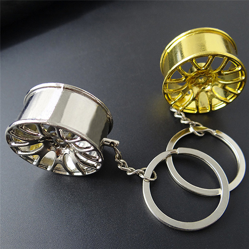 Mini Car Wheel Hub Auto Logos Key Chain Auto Repair Parts Car Mini Tire Wheel Key Chain