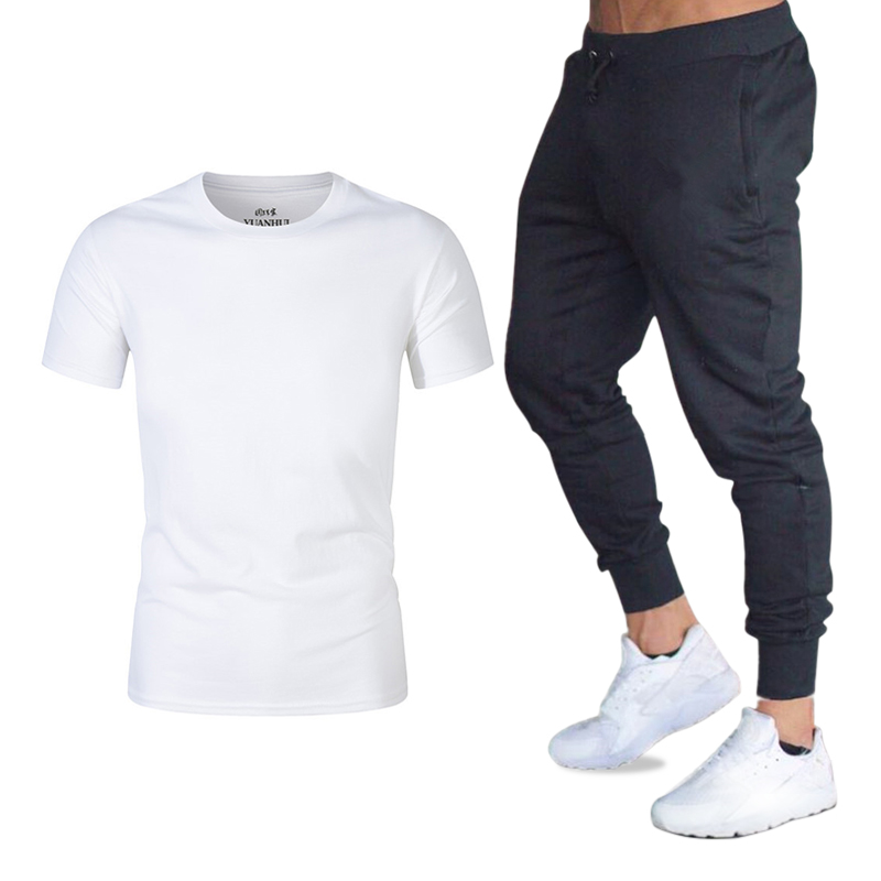 2019 New Fashion Cool T Shirt+Pants Suit Mens Streetwear Fans Club T-Shirt Sets Gyms Brand Clothing Men Casual Short Sleeves