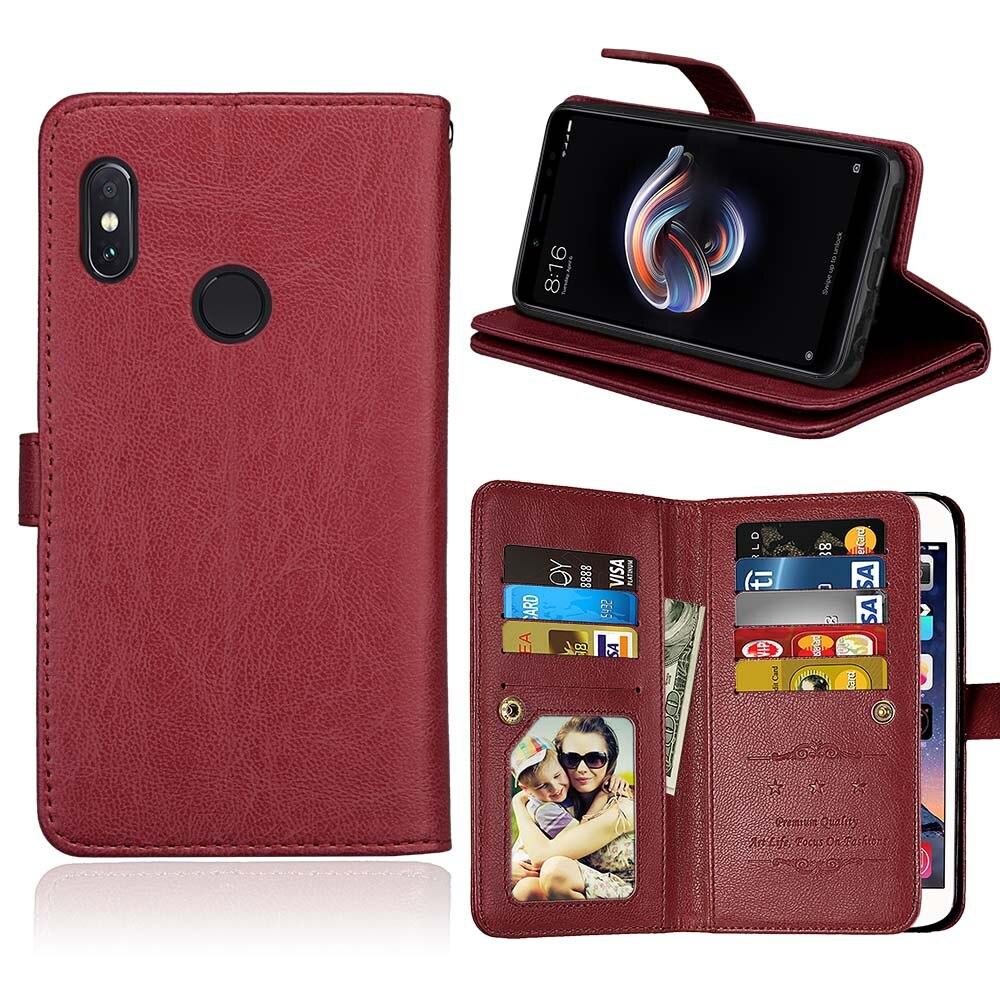 Slots de cartão Virar Caso de Telefone Carteira para Xiaomi Redmi 9 4A 5 Plus 5A 6A Nota 4 4X5 pro 5A Prime S2 Y1 Y2 PU Tampa do Suporte de Couro