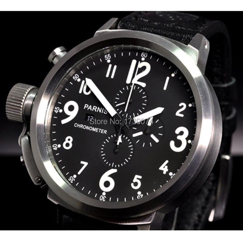 50mm PARNIS montre pour hommes cadran noir blanc marques gauche couronne bracelet en cuir chronographe complet mouvement à quartz montre bracelet P34-in Montres à quartz from Montres    1