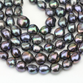 12-13mm black color large baroque pearl strand,cultured freshwater nugget pearl bead string wholesale,irregular shape pearls
