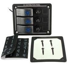 En aluminium Étanche 3 Gang LED Rocker Switch Panel Disjoncteur Marine Bateau Voiture Auto Commutateurs Panneau Circuit Disjoncteur