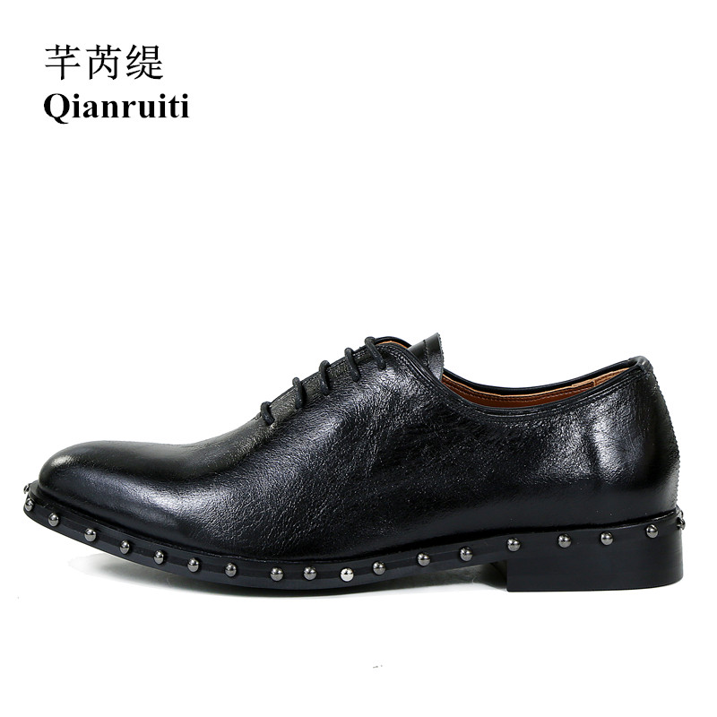 Qianruiti Men Dress Shoes Lace-up Studs Oxfords Business Wedding Flat Luxury Handmade Derby Shoes for Men EU39-EU46 qianruiti men alligator gold loafers metal toe business wedding oxfords high quality lace up slippers men dress shoe eu39 eu46