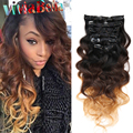 Malaysian Body Wave Clip In Hair Extensions 70g-160g/set Human Hair Clip Ins 1b/4/27 Ombre Clip In Human Hair Extensions