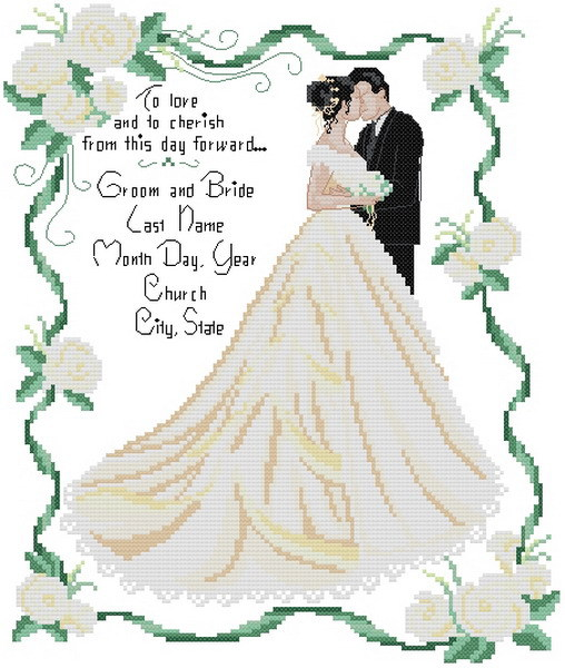 FREE SHIPPING 14 counted aida wedding anniversary cross stitch kit ...