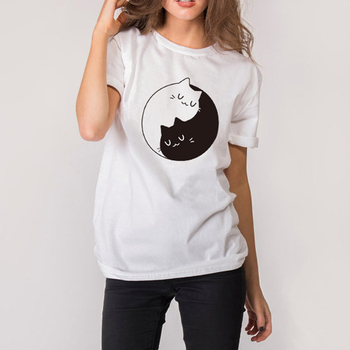 Cotton Tai Chi Cat Print White & Gray TShirts