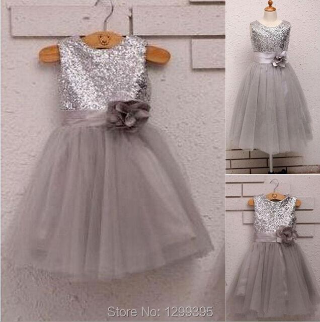 Free Shipping Dark Gray Sequins Lace Flower Girl Dresses Little Girl Prom  Performance Dresses 2015 Cute Vestido Comunion 7e79597efd25