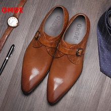 OMDE Pointed Toe Leather Men Loafers Fashion British Style Slip On Casual Shoes Straps Buckles Mens Dress Shoes Wedding Shoes cangma british style leather pointed shoes tassel casual men handmade designer leisure slip on shoes 2017 male sapato masculinos