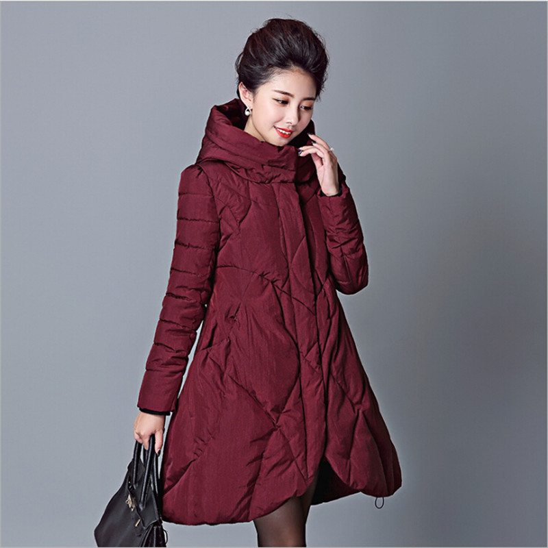 ФОТО Oversize Female Winter Cotton Coat Thicken With Hooded Womens Winter Jackets And Coats Casacos Parkas A2480