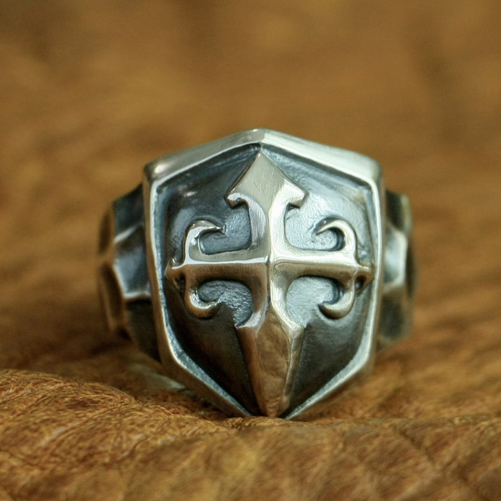 925 Sterling Silver Handmade Shield Cross Ring Mens Biker Punk Ring TA92A