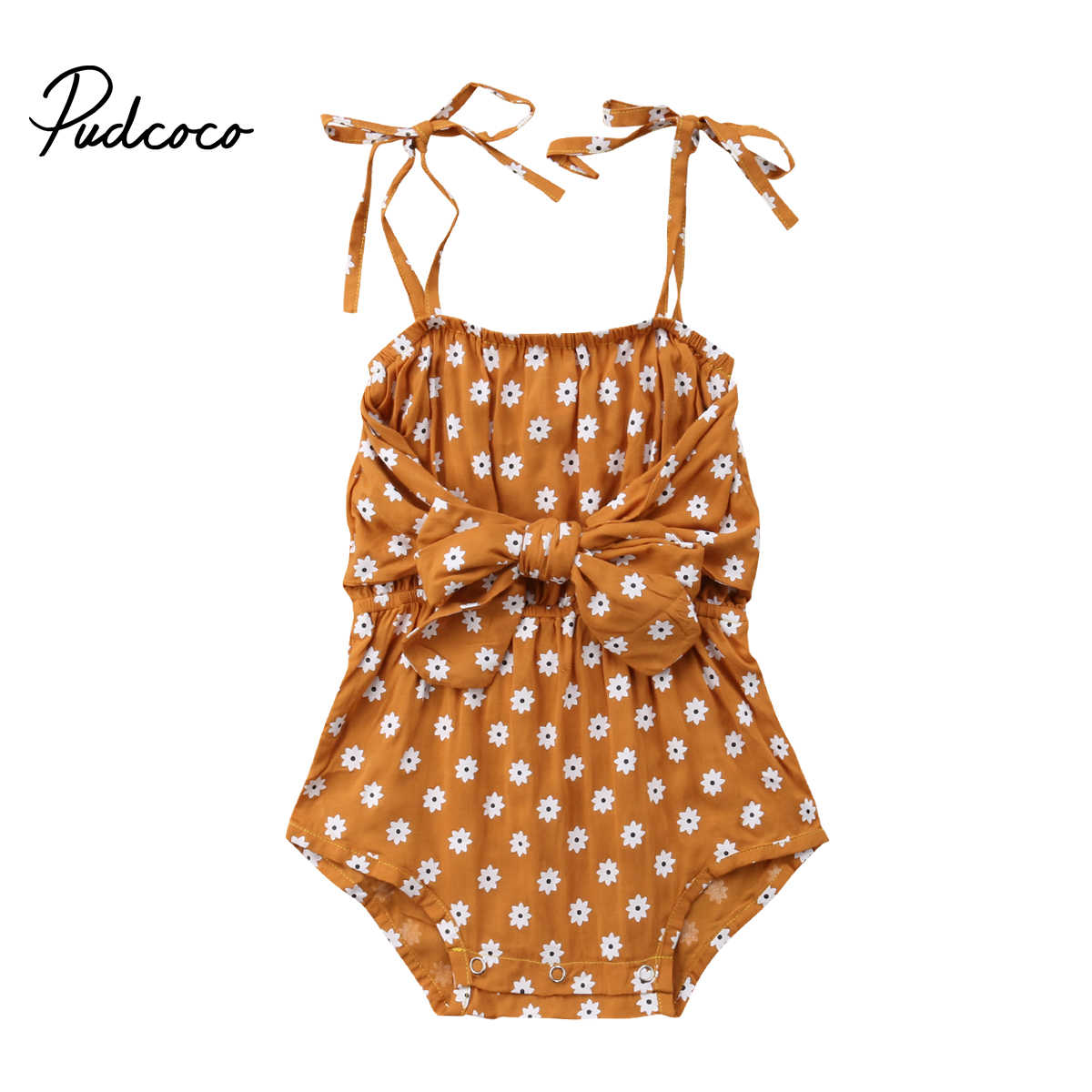 2018 Brand New 0-24M Newborn Infant Baby Girls Summer Causal Romper Sleeveless Belt Floral Print Brown Bow Belt Jumpsuits Romper