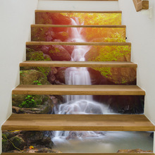 Fashion Home Self-adhesive 3D Stairs Sticker Forest Waterfall Decorative Waterproof Stair Stickers Home Decor Wall Floor Decals