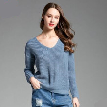 купить 2018 New Autumn and Winter Female V-neck Pullover Knitted Sweaters Criss-Cross Back Clothes Solid Color Tops Wool Long Sleeve онлайн