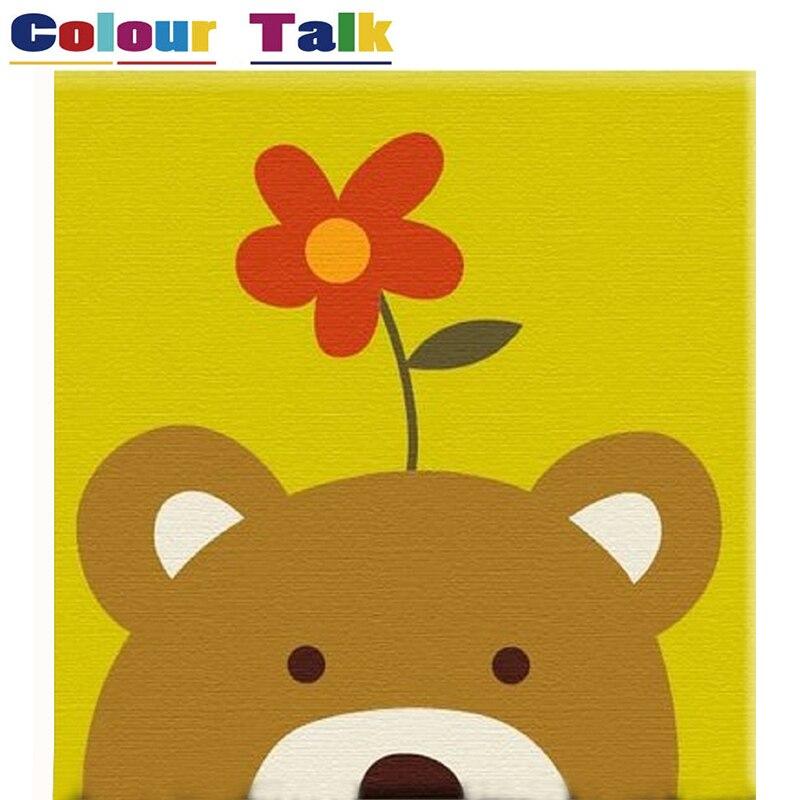 Настенная живопись для Спальня Раскраска по номерам Животные медведь живопись по номерам стены Книги по искусству украшения Картина модул...