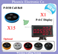 Whole Set Of Restaurant Pager System Including Wireless Service Calling Button D3 X15pcs And Display Receiver P-4-C X1PCS