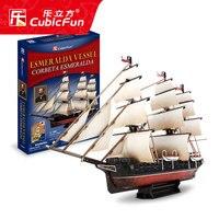 candice guo! CubicFun 3D puzzle paper model T4028H assemble toy Esmeralda vessel Corbeta Esmeralda ship boat birthday gift 1pc