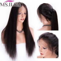 Straight Human Hair Full Lace Wigs For Black Women 150 Density Brazilian Remy Hair Wigs Pre Plucked With Baby Hair MS.ILSA