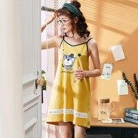 Sleep Dress Yellow Cotton Women Home Sleepshirts Cartoon Night Dress Nightgown Lady Sleep Wear Female Nightie gecelik
