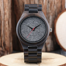 Men's Quartz Wristwatch Wood and Rhinestones