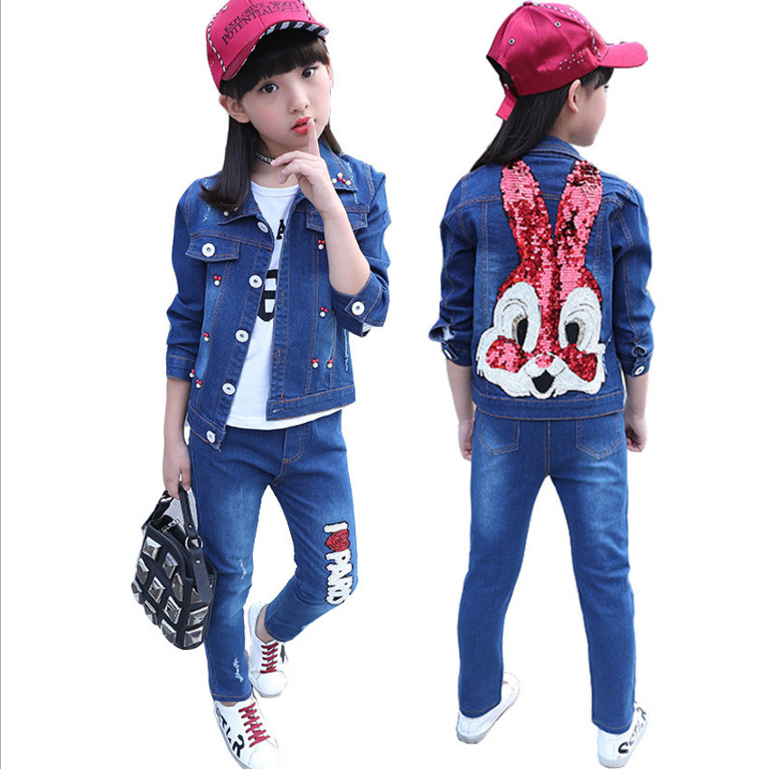 4-12 Years Children Girls Clothing Sets Fashion Casual Sport Cowboy Clothes Set Jacket + Pants For Spring Autumn 2 Pieces Set 2015 autumn girls clothes fashion punk pu leather coat jacket shirt pants 3pcs children clothing set 4 15 years old kids clothes page href
