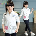 Big Girls White Blouses Long Sleeve Cotton Letter Shirts For Girls Clothing 2017 Cartoon School Girls Blouses Clothes H024