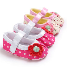 Casual Baby Shoes Toddler Cute Girl Polka Dot Flower Soft Newborn Anti-slip Baby Shoes For Party Dropshipping 822(China)