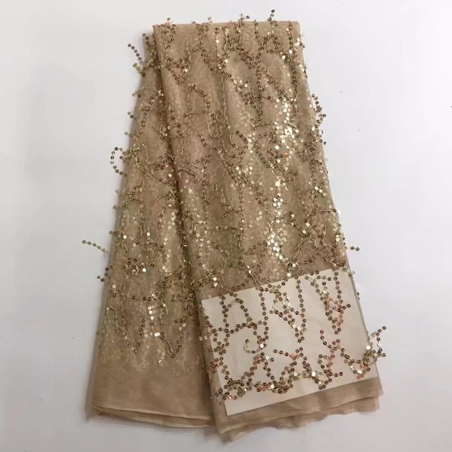 gold sequin lace fabric fringe material african french net lace tulle fabric  high quality evening dresses5yard ddb3da85ca12