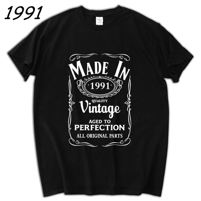 Boyfriend Gift Made In 1991 T Shirt Born 26th Year Birthday Age Present Vintage Men Tee Summer Brand Tees
