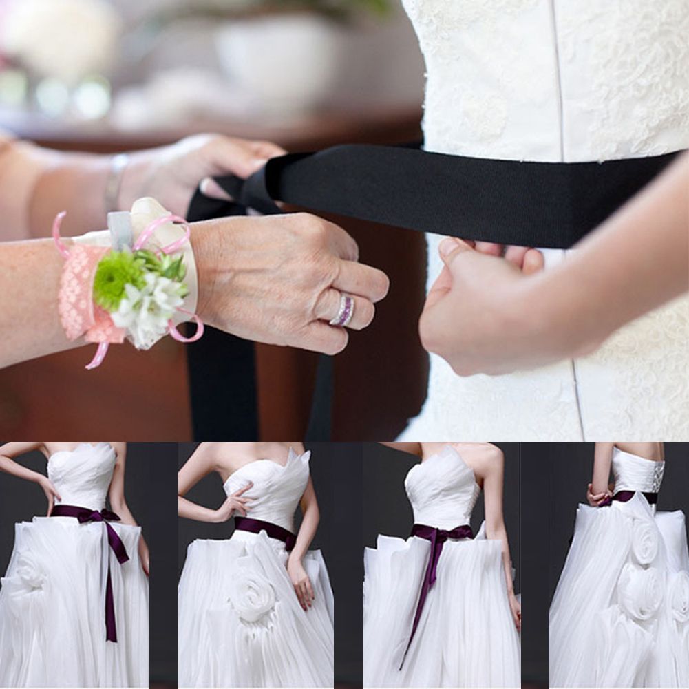 YJSFG HOUSE New Women Satin Waist   Belt   Bridal Wedding Dress Accessories 8 Color Sash Wholesale Ribbon Lady Fabric Solid White