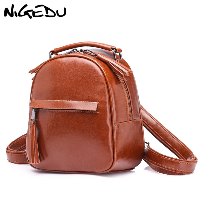 Genuine Leather Women Backpack Small Vintage Tassel Backpacks For Teenage Girls Female School Shoulder Bag Mini Daypack Black