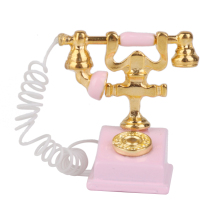 1/12 casa de muñecas miniatura Retro teléfono Rosa Vintage escritorio con cable teléfono casa de muñecas diseño decoración accesorio